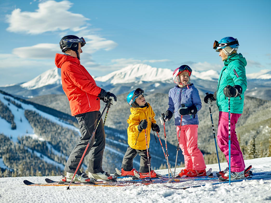 Family skiing at Colorado resort